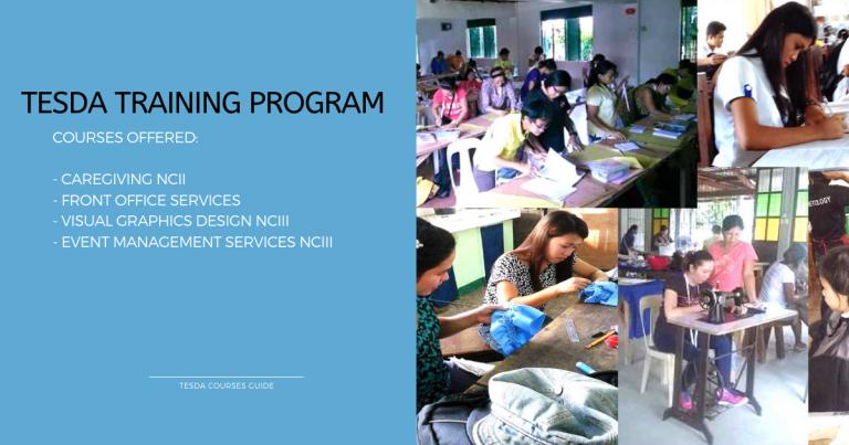 TESDA Training Program for Caregiving NCII, Visual Graphics Design NCIII and Event Management Services NCIII