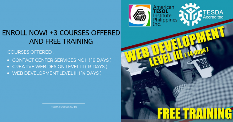 Enroll Now! +3 Courses Offered and Free Training by  American Tesol Institute Philippines
