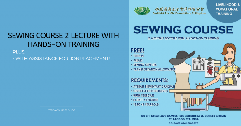 SEWING COURSE 2 LECTURE WITH HANDS-ON TRAINING